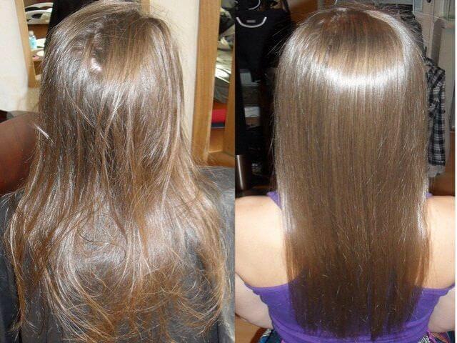 Фото до и после применения Keratin research для выпрямления волос