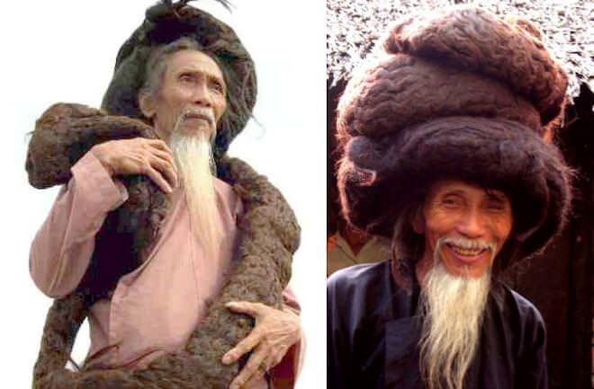 Вьетнамский мужчина имеющий самую длинную шевелюру в мире