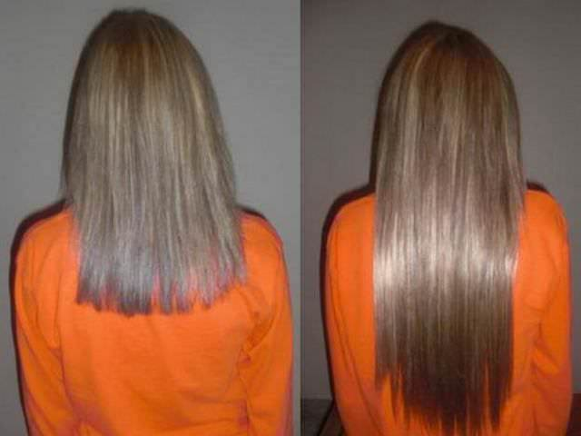 Волосы до и после процедуры наращивания