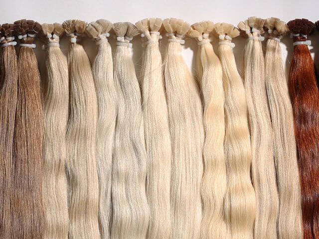 Пряди волос для наращивания разных оттенков