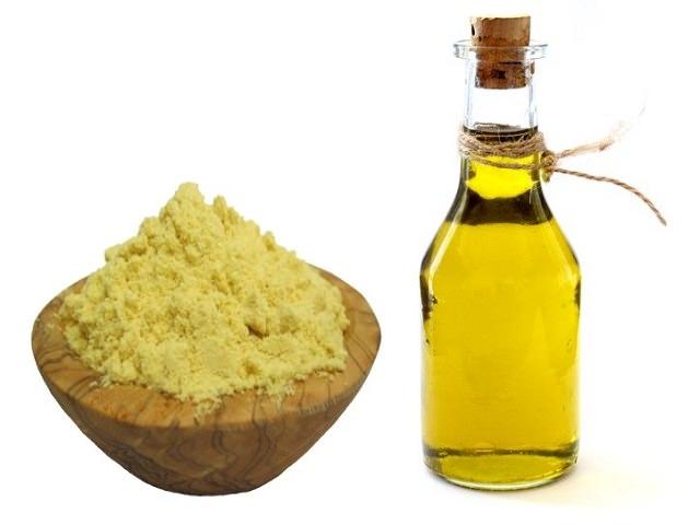 Горчичный порошок и оливковое масло для маски против выпадения волос