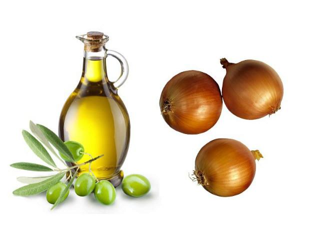 Оливковое масло и луковицы для маски против выпадения волос