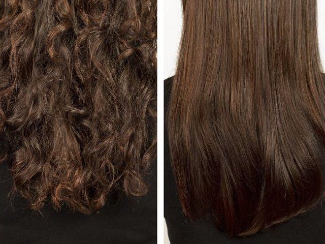 Кудрявые волосы до и после укладки утюжком