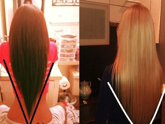 Стрижка лисий хвост на средние волосы вид сзади и спереди