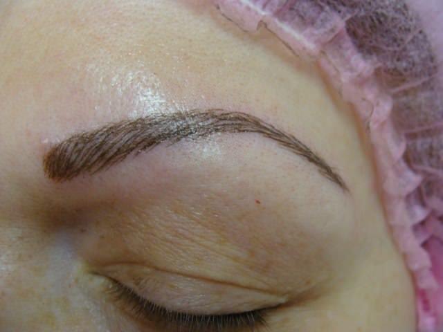 Татуаж бровей волосковый метод через месяц