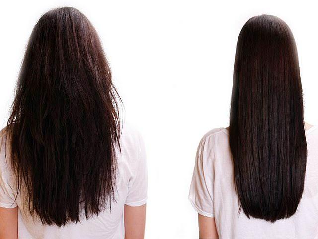 Длинные волосы до и после коллагенового восстановления