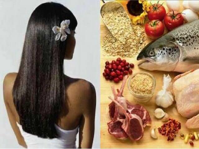 Девушка с длинными черными волосами и продукты питания
